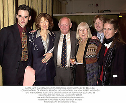Left to right, The HON.JONATHAN MONTAGU, LADY MONTAGU OF BEAULIEU, LORD MONTAGU OF BEAULIEU, BELINDA, LADY MONTAGU, the HON.RUPERT MONTAGU and the HON.MRS SCOTT, at a lunch in London on 12th March 2001.	OMC 96