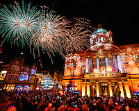 Hull City Centre, Kingston Upon Hull, East Yorkshire, United Kingdom, 27 November, 2014. Christmas Lights Turn On Pictured: Fireworks