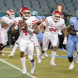 Sep 19, 2019; New Orleans, LA, USA; Houston Cougars quarterback D'Eriq King (4) throws a touchdown against the Tulane Green Wave during the first quarter at Yulman Stadium. Mandatory Credit: Derick E. Hingle-USA TODAY Sports