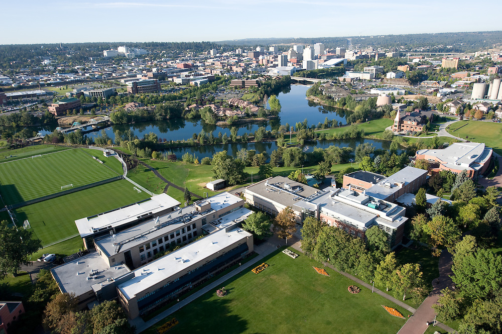 Aerial shot of campus looking Southwest towards Downtown. Gonzaga's campus is only a short walk to the Downtown area.