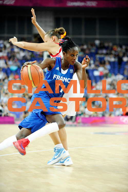 DESCRIZIONE : Basketball Jeux Olympiques Londres Demi finale<br /> GIOCATORE : Gomis Emilie<br /> SQUADRA : France  FEMME<br /> EVENTO : Jeux Olympiques<br /> GARA : France Russie<br /> DATA : 09 08 2012<br /> CATEGORIA : Basketball Jeux Olympiques<br /> SPORT : Basketball<br /> AUTORE : JF Molliere <br /> Galleria : France JEUX OLYMPIQUES 2012 Action<br /> Fotonotizia : Jeux Olympiques Londres demi Finale Greenwich Northwest Arena<br /> Predefinita :