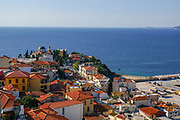 View of the city and the Sea from the Byzantine fortress in the old town of Kavala,  Macedonia, Greece