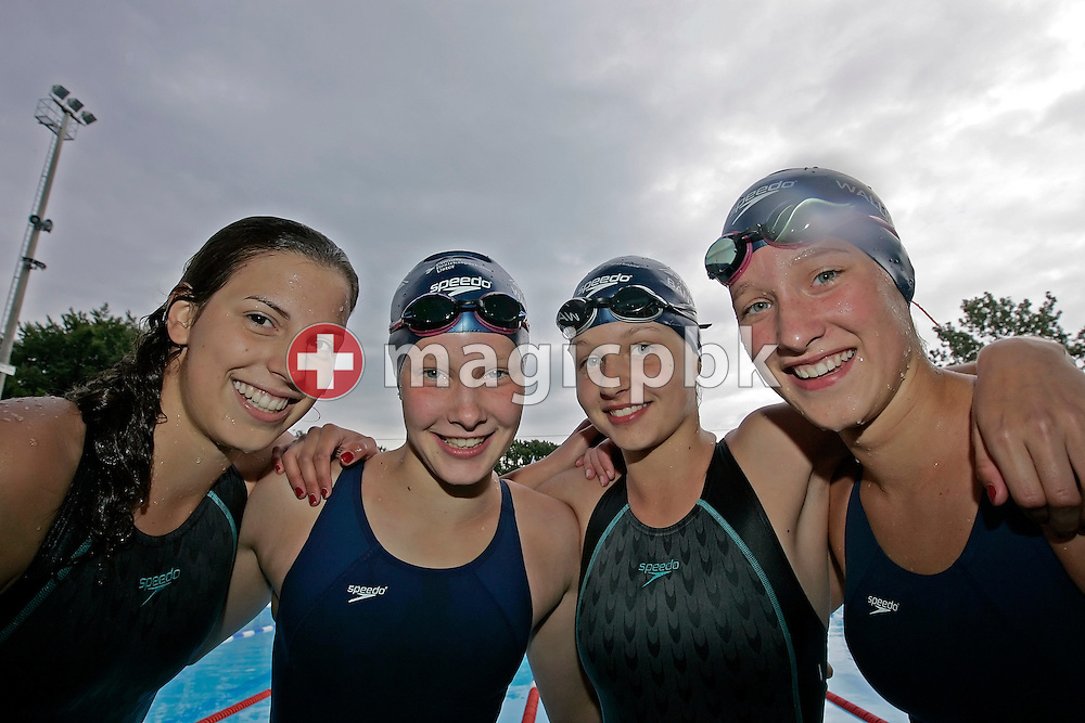 (L-R) Switzerland's Laura HAERINGER, Danielle SIMS, Jennifer BAENZIGER and Micah Sims of the team SC Uster Wallisellen pose for a team photo after finishing second in the girl's 4x200m freestyle relay at the Youth and Junior Swiss Swimming Championships in Kreuzlingen, Switzerland, Saturday, July 12, 2008. (Photo by Patrick B. Kraemer / MAGICPBK)