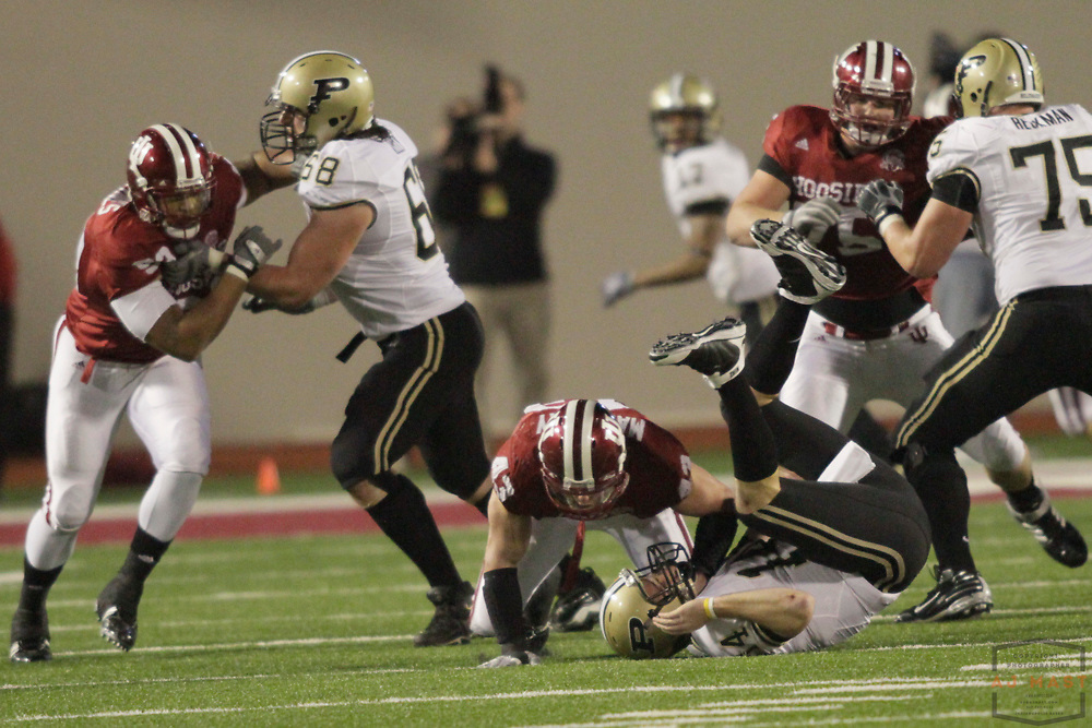 21 November 2009: Indiana linebacker Matt Mayberry (43) as the Indiana Hoosiers played the Purdue Boilermakers in a college football game in Bloomington, Ind.