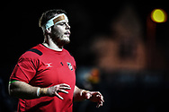Dragons' Sam Hobbs during the pre match warm up<br /> <br /> Photographer Craig Thomas/Replay Images<br /> <br /> EPCR Champions Cup Round 4 - Newport Gwent Dragons v Newcastle Falcons - Friday 15th December 2017 - Rodney Parade - Newport<br /> <br /> World Copyright © 2017 Replay Images. All rights reserved. info@replayimages.co.uk - www.replayimages.co.uk