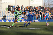 AFC Wimbledon striker Tyrone Barnett (23) during the The FA Cup match between Curzon Ashton and AFC Wimbledon at Tameside Stadium, Ashton Under Lyne, United Kingdom on 4 December 2016. Photo by Stuart Butcher.