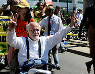 August 24, 2008 - Anti-war activist and writer Ron Kovic leads a march prior to the Democratic National Convention in Denver, Colorado.