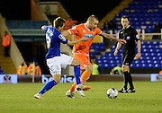 Jamie O'Hara on the attack during the Sky Bet Championship match between Birmingham City and Blackpool at St Andrews, Birmingham, England on 4 March 2015. Photo by Alan Franklin.