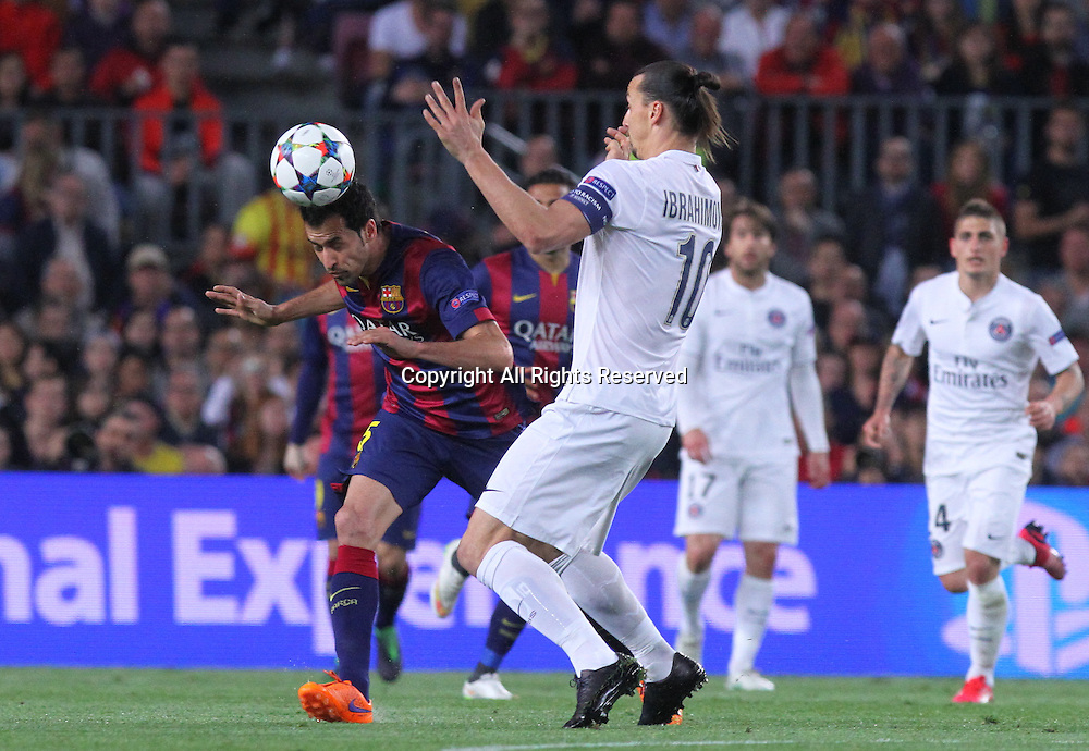 21.04.2015. Nou Camp, Barcelona, Spain. UEFA Champions League quarter-final, second leg. Barcelona versus Paris St Germain.  Sergio Busquets in action