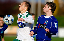 Davor Skerjanc of Olimpija and Marko Roskar of Drava at 18th Round of PrvaLiga football match between NK Olimpija and NK Labod Drava, on November 21, 2009, in ZAK, Ljubljana, Slovenia. Olimpija defeated Drava 3:0. (Photo by Vid Ponikvar / Sportida)