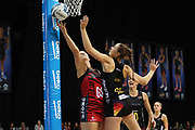 Tactix goal shoot Ellie Bird and Magic goal keep Kelly Jury compete for the ball uring the ANZ Premiership netball match - Magic v 170529 ANZ Premiership - Magic v Tactix played at Claudelands Arena, Hamilton, New Zealand on Monday 29 May 2017. Copyright photo: Bruce Lim / www.photosport.nz