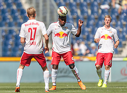 11.07.2015, Red Bull Arena, Salzburg, AUT, Audi Quattro Cup, Halbfinale, FC Red Bull Salzburg vs SV Werder Bremen, im Bild Konrad Laimer (FC Red Bull Salzburg), Reinhold Yabo (FC Red Bull Salzburg), Martin Hinteregger (FC Red Bull Salzburg) // during the Audi Quattro Cup Semi Final Match between FC Red Bull Salzburg vs SV Werder Bremen at the Red Bull Arena, Salzburg on 2015/07/11. EXPA Pictures © 2015, PhotoCredit: EXPA/ JFK