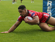 Derrell Olpherts of Salford Red Devils dives over to score his hat-rick  try against Halifax RLFC during the Super 8s The Qualifiers match at Mbi Shay Stadium, Halifax<br /> Picture by Stephen Gaunt/Focus Images Ltd +447904 833202<br /> 02/09/2018