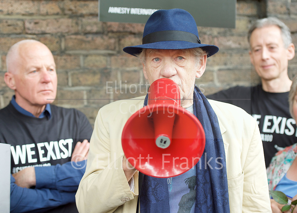 Sir Ian McKellen <br /> <br /> <br /> Amnesty International UK<br /> CHECHNYA: STOP ABDUCTING AND KILLING GAY MEN<br /> protest at the Russian Embassy, London, Great Britain <br /> 2nd June 2017 <br /> <br /> Over a hundred men suspected of being gay have been abducted, tortured and some even killed in the southern Russian republic of Chechnya.<br /> <br /> The Chechen government won&rsquo;t admit that gay men even exist in Chechnya, let alone that they ordered what the police call 'preventive mopping up' of people they deem undesirable. We urgently need your help to call out the Chechen government on the persecution of people who are, as they put it, of 'non-traditional orientation', and urge immediate action to ensure their safety.<br /> <br /> Photograph by Elliott Franks <br /> Image licensed to Elliott Franks Photography Services
