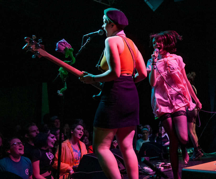 The Regrettes' Sage Nicole, left, and Lydia Night performing at The Constellation Room in Santa Ana, CA, April 19, 2017.