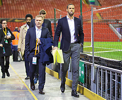 LIVERPOOL, ENGLAND - Thursday, March 10, 2016: Former Manchester United players Paul Scholes and Rio Ferdinand arrive ahead of the UEFA Europa League Round of 16 1st Leg match against Manchester United at Anfield. (Pic by David Rawcliffe/Propaganda)