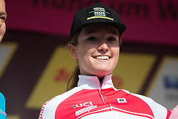 Nina Buijsman (NED) of Parkhotel Valkenburg - Destil Cycling Team celebrates wearing the best young rider's jersey after Stage 3 of the Lotto Thuringen Ladies Tour - a 124 km road race, starting and finishing in Weimar on July 15, 2017, in Thuringen, Germany. (Photo by Balint Hamvas/Velofocus.com)