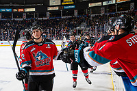 KELOWNA, BC - OCTOBER 12: Dillon Hamaliuk #22 of the Kelowna Rockets celebrates a goal against the Kamloops Blazers at Prospera Place on October 12, 2019 in Kelowna, Canada. Hamaliuk was selected by the San Jose Sharks in the 2019 NHL entry draft. (Photo by Marissa Baecker/Shoot the Breeze)