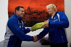 Andrej Jelenc and Jost Zakrajsek at press conference of Kayak and Canoe Federation of Slovenia, on November 12, 2009, in Arena Tivoli, Ljubljana, Slovenia.  (Photo by Vid Ponikvar / Sportida)