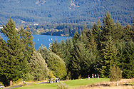 Pictured here is the golf course at the lodge.  The view of the Columbia River Gorge from Skamania Lodge located in Washington's Columbia River Gorge
