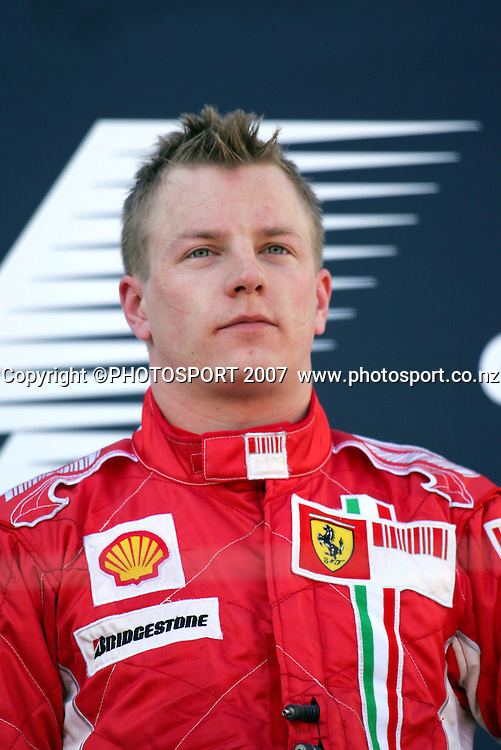 Kimi Raikkonen after winning the Australian Formula 1 Grand Prix at Melbourne, Australia on Sunday 18 March 2007. Photo: Panoramic/PHOTOSPORT #NO AGENTS#<br /> <br /> <br /> 180307 *** Local Caption ***