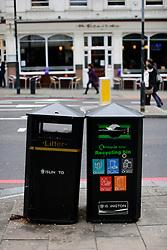 UK ENGLAND LONDON 1MAY12 - Rubbish and recycling bins on Upper street in Islington, north London.....jre/Photo by Jiri Rezac....© Jiri Rezac 2012