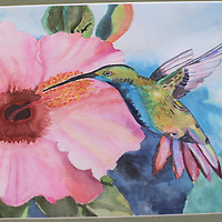 RAY VAN DUSEN/BUY AT PHOTOS.MONROECOUNTYJOURNAL.COM<br /> A painting of a hummingbird by Belle-Shivers Middle School student Niyah Lockett won Best in Show in the sixth- through eighth-grade painting division of the Mississippi Jr. Beta Club competition. She will compete in nationals this summer at Walt Disney World. This painting is among several on display for the school's first art show in 11 years.