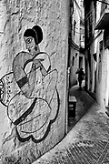 Graffiti depicting a Bengali lady on the wall of a narrow Kolkata lane