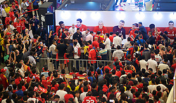 KUALA LUMPUR, MALAYSIA - Wednesday, July 22, 2015: Liverpool players during a signing session event at the Mid Valley Mega Mall on day ten of the club's preseason tour. (Pic by David Rawcliffe/Propaganda)