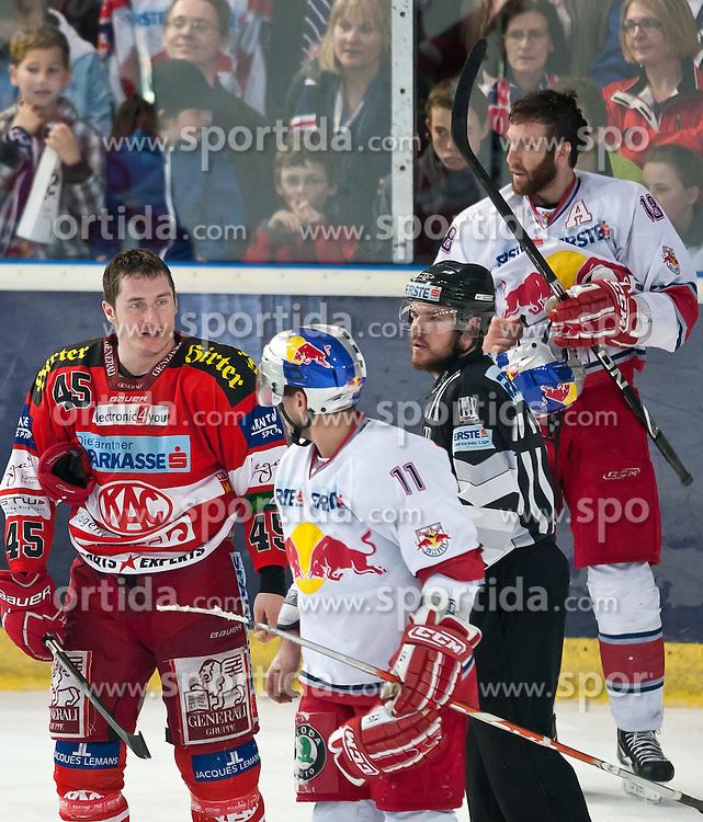 03.04.2011, Volksgarten Arena, Salzburg, AUT, EBEL, FINALE, EC RED BULL SALZBURG vs EC KAC, im Bild David Schuller, (EC KAC, #45), Martin St.Pierre, (EC RED BULL SALZBURG, #11), Daniel Bois, (EC RED BULL SALZBURG, #18), // during the EBEL Eishockey Final, EC RED BULL SALZBURG vs EC KAC at the Volksgarten Arena, Salzburg, 04/03/2011, EXPA Pictures © 2011, PhotoCredit: EXPA/ J. Feichter