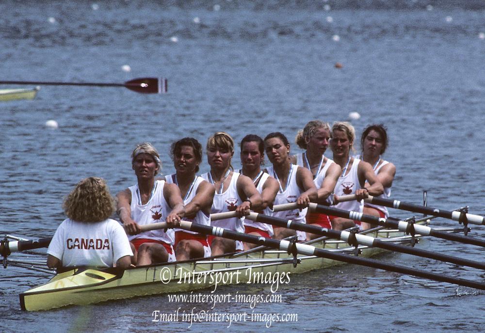 Lucerne, SWITZERLAND CAN W8+. 1992 FISA World Cup Regatta, Lucerne. Lake Rotsee.  [Mandatory Credit: Peter Spurrier: Intersport Images] 1992 Lucerne International Regatta and World Cup, Switzerland