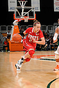 January 5, 2012: Marissa Kastanek #23 of North Carolina State in action during the NCAA basketball game between the Miami Hurricanes and the North Carolina State Wolfpack at the BankUnited Center in Coral Gables, FL. The Hurricanes defeated the Wolfpack 78-68.