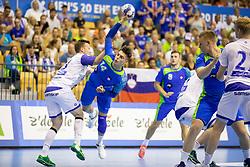 Domen Makuc of Slovenia during handball match between National teams of Slovenia and Iceland in Main Round of 2018 EHF U20 Men's European Championship, on July 25, 2018 in Arena Zlatorog, Celje, Slovenia. Photo by Urban Urbanc / Sportida