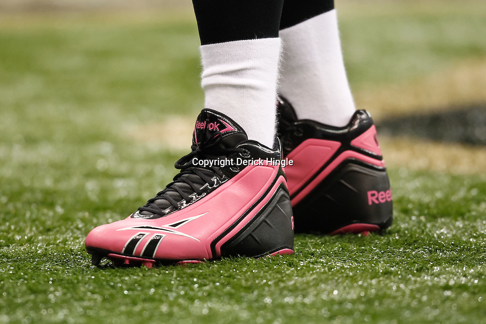 October 3, 2010; New Orleans, LA, USA; A Carolina Panthers player wearing pink shoes in support of breast cancer awareness month during warm ups prior to kickoff of a game between the New Orleans Saints and the Carolina Panthers at the Louisiana Superdome. Mandatory Credit: Derick E. Hingle