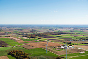 Aerial view of Dane County, Wisconsin, looking SE towards Middleton, Madison, and Lake Mendota in the distance.