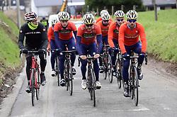 March 30, 2018 - Oudenaarde, Belgique - Oudenaarde, Belgium - March 30 : NIBALI Antonio (ITA), COLBRELLI Sonny (ITA), HAUSSLER Heinrich (AUS)  of Bahrain - Merida during a training session prior to the Flanders Classics UCI WorldTour 102nd Ronde van Vlaanderen cycling race with start in Antwerpen and finish in Oudenaarde on March 30, 2018 in Oudenaarde, Belgium 30/03/2018 (Credit Image: © Panoramic via ZUMA Press)