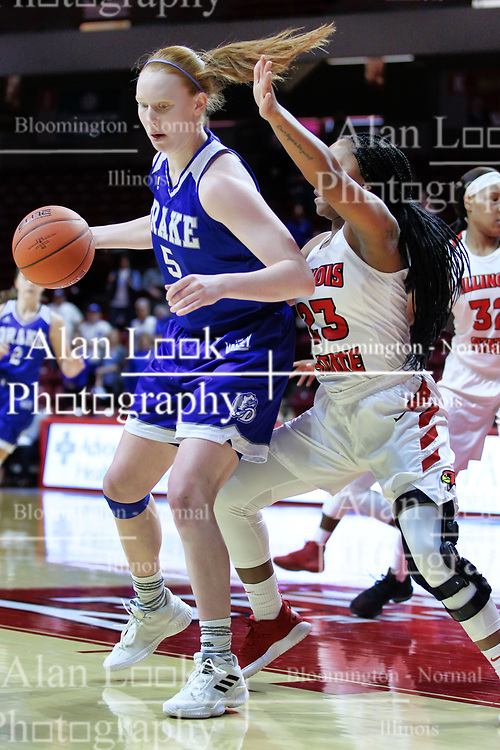NORMAL, IL - January 06: Becca Hittner defended by Viria Livingston during a college women's basketball game between the ISU Redbirds and the Drake Bulldogs on January 06 2019 at Redbird Arena in Normal, IL. (Photo by Alan Look)