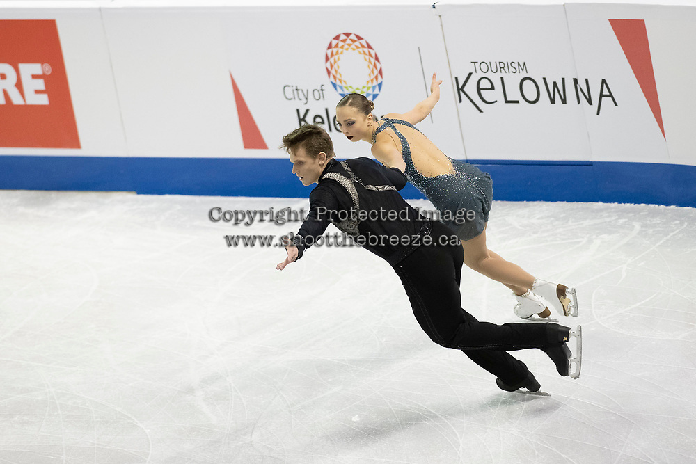 KELOWNA, BC - OCTOBER 26:  Aleksandra Boikova and Dmitrii Kozlovskii of Russia competes in pairs free skate during Skate Canada International at Prospera Place on October 25, 2019 in Kelowna, Canada. (Photo by Marissa Baecker/Shoot the Breeze)