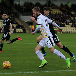 Alistair Roy sends a cross in  during the Dumbarton v St Mirren Scottish Championship 14 October 2017<br /> <br /> <br /> <br /> <br /> <br /> (c) Andy Scott | SportPix.org.uk