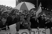 "06/02/1966<br /> 02/06/1966<br /> 06 February 1966<br /> Shamrock Rovers v Waterford at Milltown, Dublin. Some ""Blues"" supporters who came well equipped for the match."