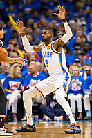 OKLAHOMA CITY, OK - APRIL 21: Nerlens Noel #3 of the Oklahoma City Thunder plays defense during a game against the Portland Trail Blazers during Round One Game Three of the 2019 NBA Playoffs on April 21, 2019 at Chesapeake Energy Arena in Oklahoma City, Oklahoma  NOTE TO USER: User expressly acknowledges and agrees that, by downloading and or using this photograph, User is consenting to the terms and conditions of the Getty Images License Agreement.  The Trail Blazers defeated the Thunder 111-98.  (Photo by Wesley Hitt/Getty Images) *** Local Caption *** Nerlens Noel