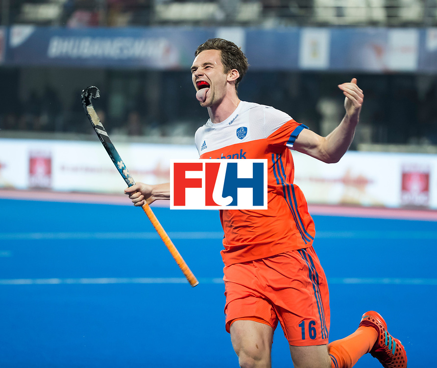 BHUBANESWAR - Mirco Pruyser (Ned) heeft gescoord bij de shoot-outs,  tijdens de Hockey World League Finals , de kwartfinale wedstrijd Duitsland-Nederland (3-3).Duitsland wint na shoot-outs.    COPYRIGHT KOEN SUYK