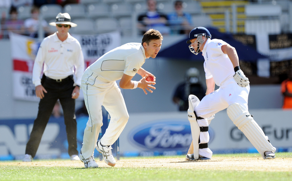 New Zealand's Trent Boult fields off his own bowling against England on the third day of the 3rd international cricket test, Eden Park, Auckland, New Zealand, Sunday, March 24, 2013. Credit:SNPA / Ross Setford