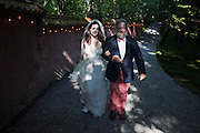 Ariana Rockefeller is escorted to the entrance of the gardens by her father, David Rockefeller Jr. before her wedding ceremony on Mount Desert Island, Maine, Saturday, September 4, 2010.  Craig Dilger for The New York Times