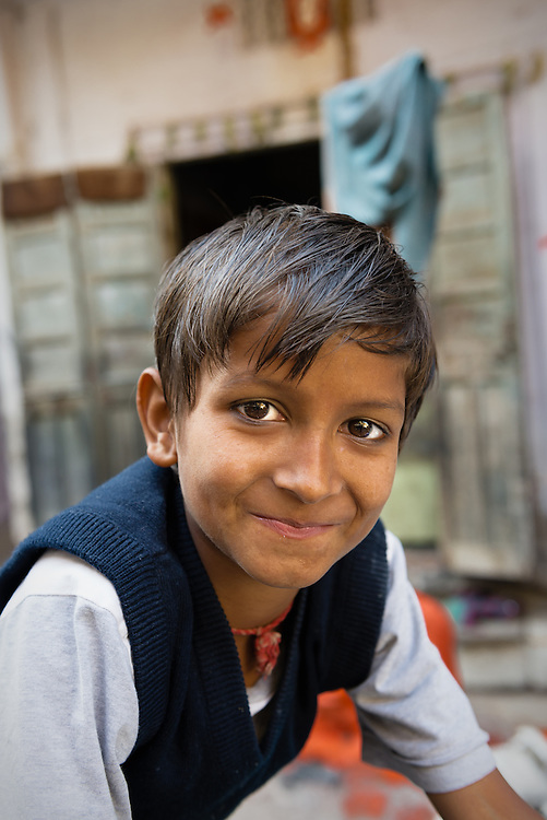 Portrait of an Indian boy in the old city of Jaipur