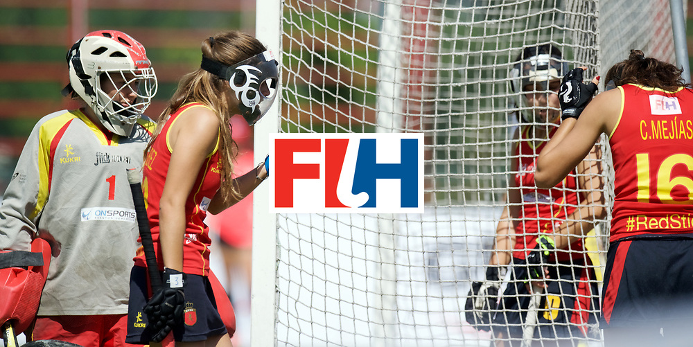 SANTIAGO - 2016 8th Women's Hockey Junior World Cup<br /> CHN v ESP (Pool D)<br /> foto: Penalty corner defense Spain.<br /> FFU PRESS AGENCY COPYRIGHT FRANK UIJLENBROEK