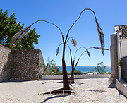 Modern sculpture artwork near the coast at Cacela Velha, Vila Real de Santo António, Algarve, Portugal