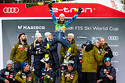 Second placed SWENN LARSSON Anna of Sweden and her team celebrate during Trophy ceremony after the 7th Ladies'  Slalom at 55th Golden Fox - Maribor of Audi FIS Ski World Cup 2018/19, on February 2, 2019 in Pohorje, Maribor, Slovenia. Photo by Matic Ritonja / Sportida