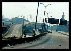 5th Sept, 2005. Hurricane Katrina aftermath. New Orleans. The I-10 highway in central New Orleans is deserted following the devsastating hurricane.