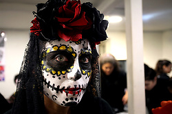 November 3, 2018 - Athens, Attica, Greece - People with their faces painted take part at the annual Day of The Dead celebrations in Athens, Greece on November 3, 2018. The 'Dia de los Muertos' (Day of the Dead) is a colourful and diverse tradition in Mexico to pray and celebrate friends and family members who have passed away. (Credit Image: © Giorgos Georgiou/NurPhoto via ZUMA Press)
